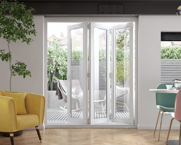 1800mm Icon White 3+0 Bifold Doors - Internal Shot