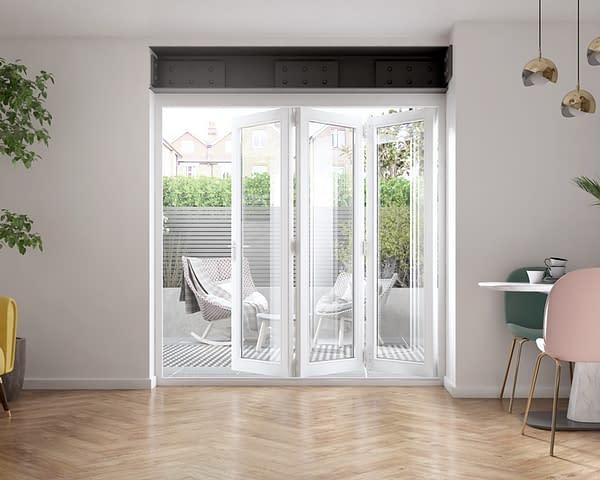 2100mm Icon White 3+0 Bifold Doors - Internal Shot
