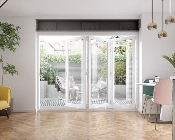 2700mm Icon White 3+0 Bifold Doors - Internal Shot