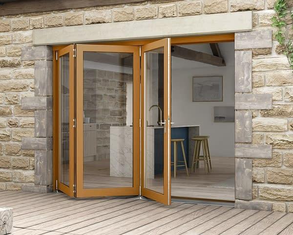 2700mm Icon Oak Fully Finished 3+0 External Bifold - Open