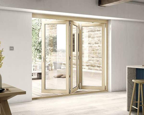 2400mm Icon Oak Part Q Compliant 3+0 Bifold Doors - Open