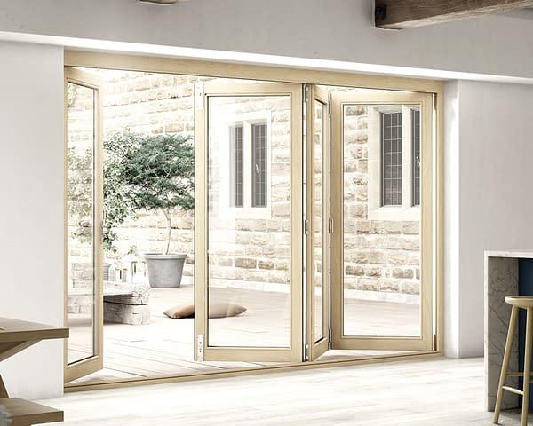 3000mm Icon Oak Part Q Compliant 3+1 Bifold Doors - Open