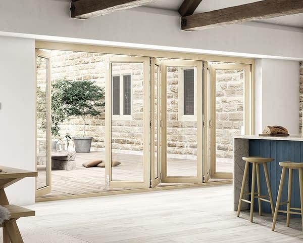 4200mm Icon Oak Part Q Compliant 5+1 Bifold Doors - Open