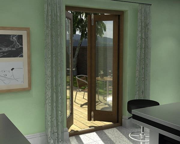 1200mm Esteem Oak Unfinished French Doors - Internal Shot