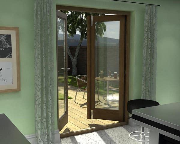 1500mm Esteem Oak Unfinished French Doors - Internal Shot