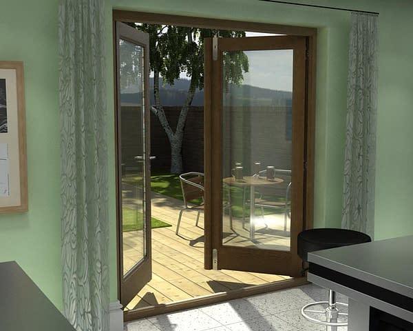 1800mm Esteem Oak Unfinished French Doors - Internal Shot