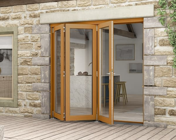 2100mm Icon Solid Oak Fully Finished Bifold - External Shot