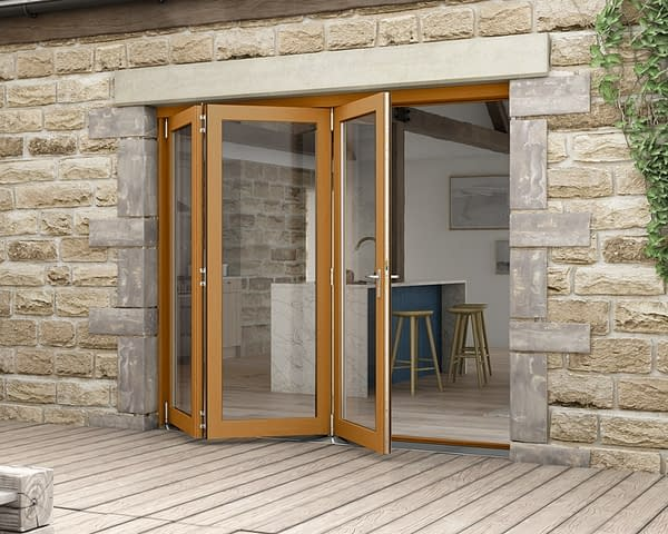 2400mm Icon Solid Oak Fully Finished Bifold - External Shot