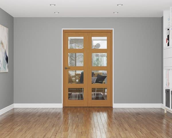 2 Door Affinity Fully Finished Oak 4 Light Internal Bifold