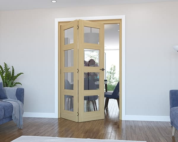 2 Door Vision Unfinished 4 Light Oak Internal Bifold - Open