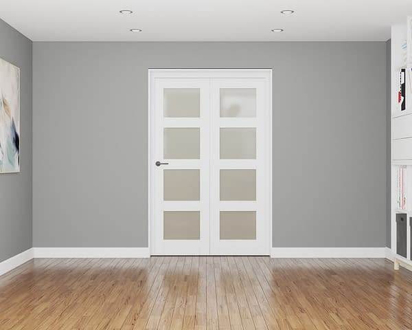 2 Door Affinity White Primed 4 Light Frosted Internal Bifold