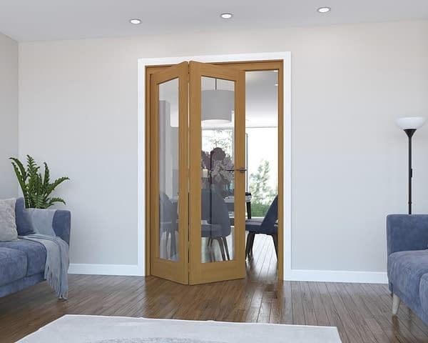 2 Door Vision Fully Finished Oak Internal Bifold - Open