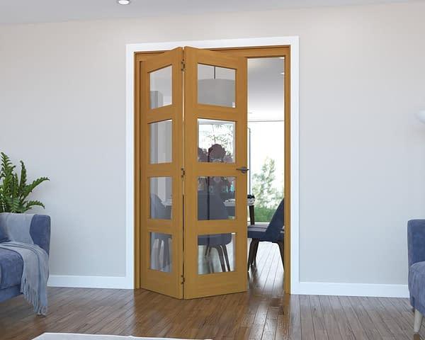 2 Door Vision Fully Finished Oak 4 Light Internal Bifold - Open