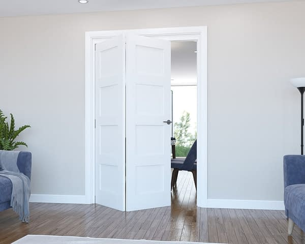 2 Door Vision White Primed 4 Panel Internal Bifold - Open