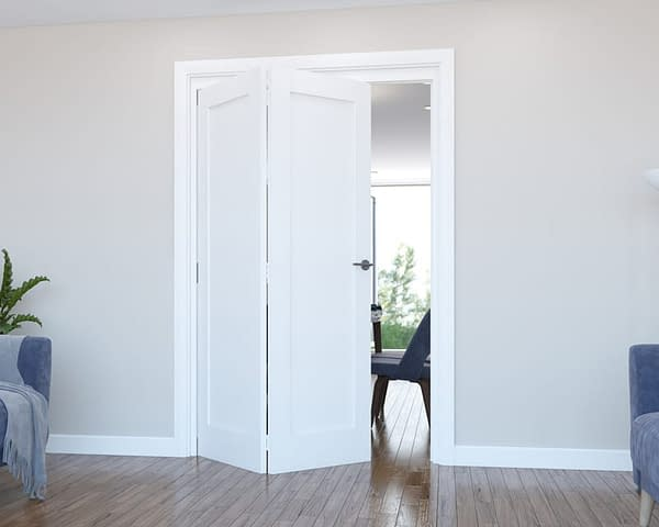 2 Door Vision White Primed 1 Panel Internal Bifold - Open