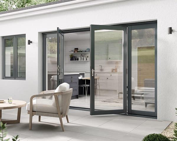 3000mm Aspect Grey French Doors - Open