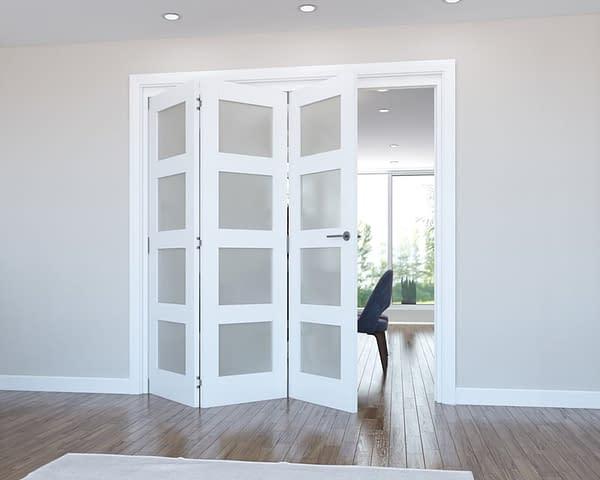 3 Door Vision White Primed 4 Light Frosted Internal Bifold - Open