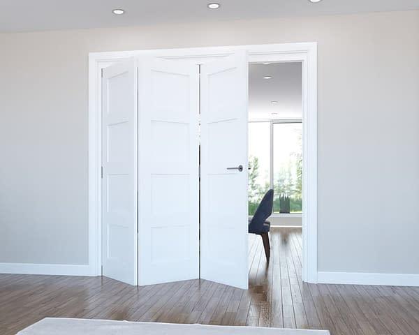 3 Door Vision White Primed 4 Panel Internal Bifold - Open