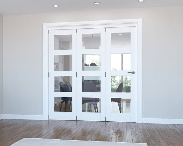 3 Door Vision White Primed 4 Light Internal Bifold - Closed