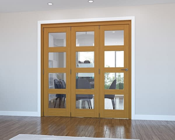 3 Door Vision Fully Finished Oak 4 Light Internal Bifold - Closed