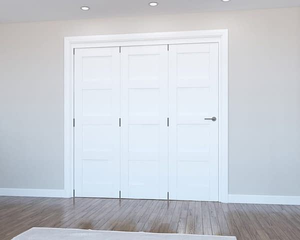 3 Door Vision White Primed 4 Panel Internal Bifold - Closed