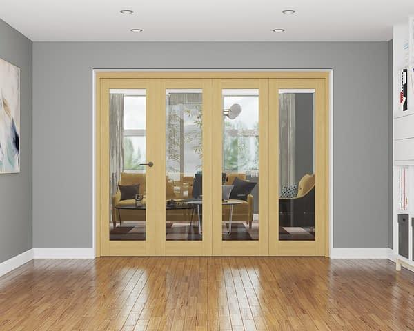 4 Door Affinity Unfinished Oak Internal Bifold