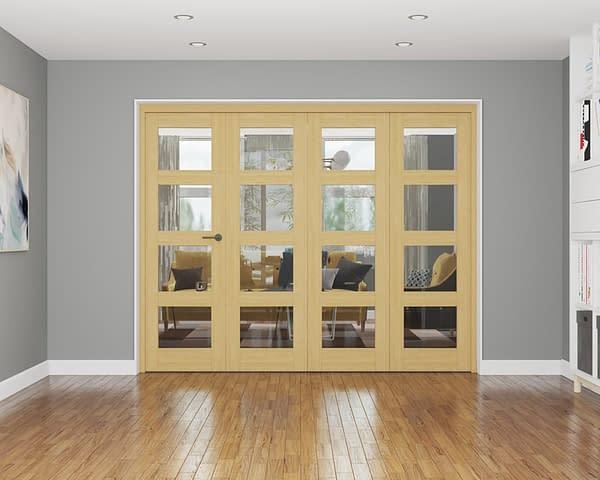 4 Door Repute Unfinished Oak 4 Light Internal Bifold