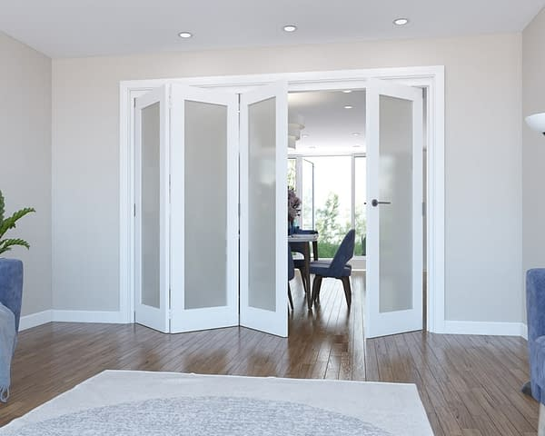 4 Door Vision White Primed Frosted Internal Bifold - Open