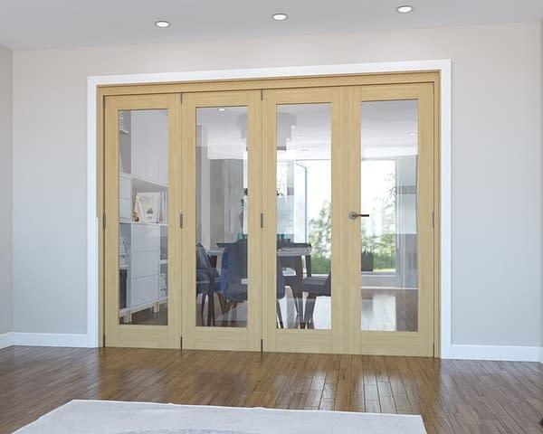 4 Door Vision Unfinished Oak Internal Bifold - Closed