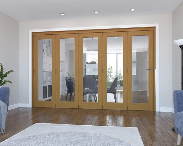 5 Door Vision Fully Finished Oak Internal Bifold - Closed