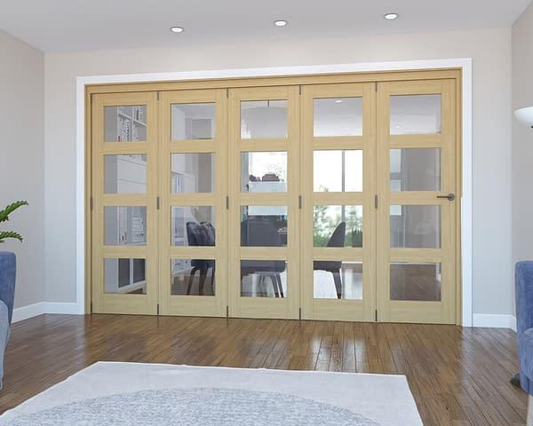 5 Door Vision Unfinished 4 Light Oak Internal Bifold - Closed