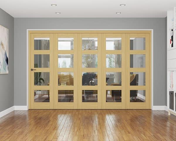 5 Door Repute Unfinished Oak 4 Light Internal Bifold