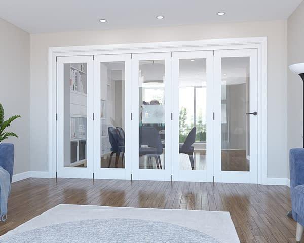 5 Door Vision White Primed Internal Bifold - Closed