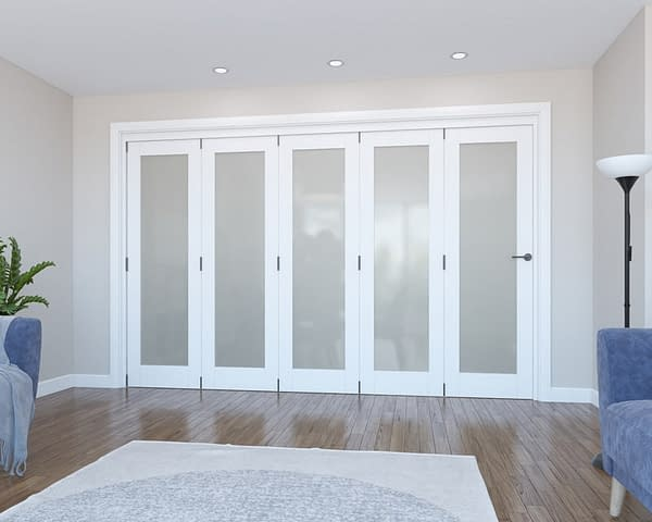 5 Door Vision White Primed Frosted Internal Bifold - Closed