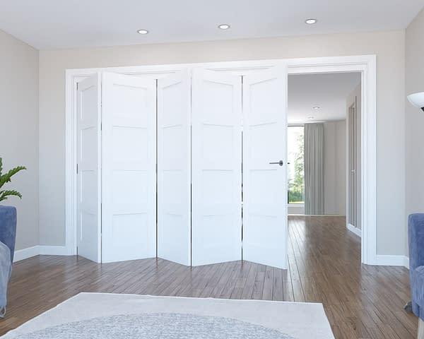5 Door Vision White Primed 4 Panel Internal Bifold - Open