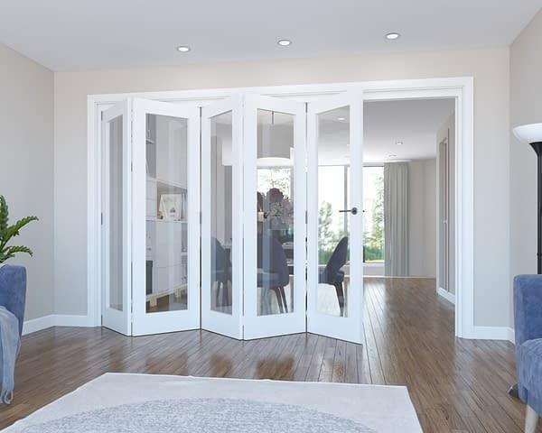 5 Door Vision White Primed Internal Bifold - Open