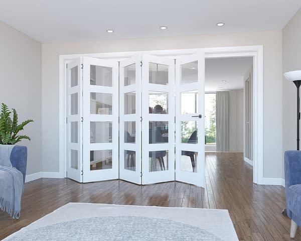 5 Door Vision White Primed 4 Light Internal Bifold - Open