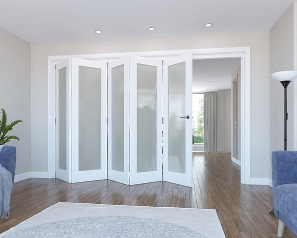 5 Door Vision White Primed Frosted Internal Bifold - Open