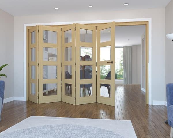 5 Door Vision Unfinished 4 Light Oak Internal Bifold - Open