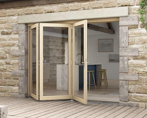 2700mm Icon Oak Part Q Compliant 3+0 Bifold Doors - External