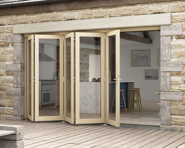 3600mm Icon Oak Part Q Compliant 5+0 Bifold Doors - External