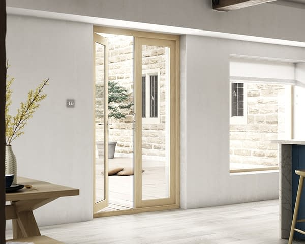 1200mm Icon Part Q Compliant Solid Oak French Doors - Internal Shot