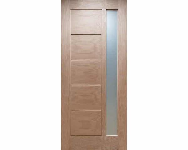 78 x 30 Linear Unfinished Oak External Front Door - Cut Out
