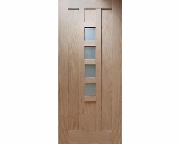 78 x 30 Newton Unfinished Oak External Front Door - Cut Out