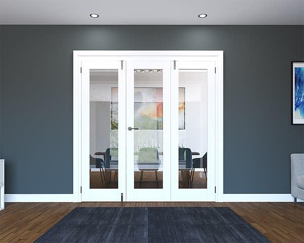 3 Door White Primed 1 Light Folding French Doors - Closed