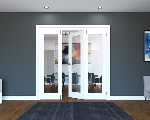 3 Door White Primed 1 Light Folding French Doors - Half Open