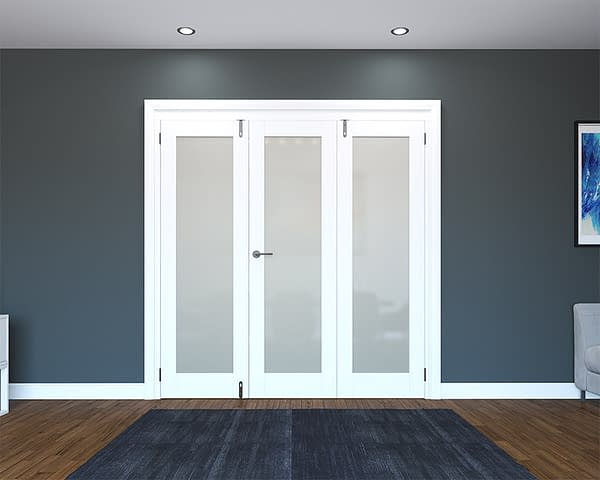 3 Door White Primed 1 Light Frosted Folding French Doors - Closed