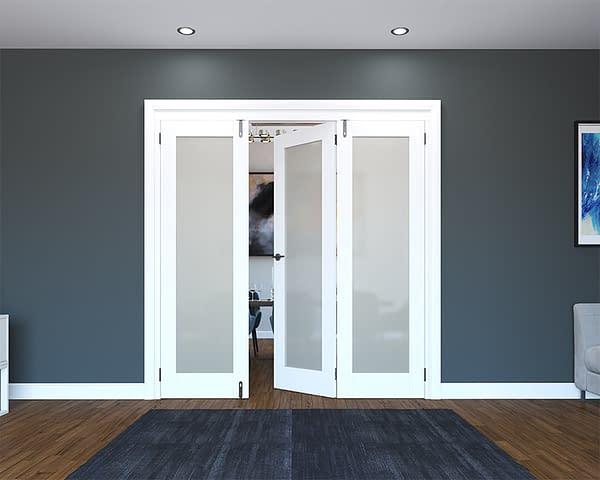 3 Door White Primed 1 Light Frosted Folding French Doors - Half Open
