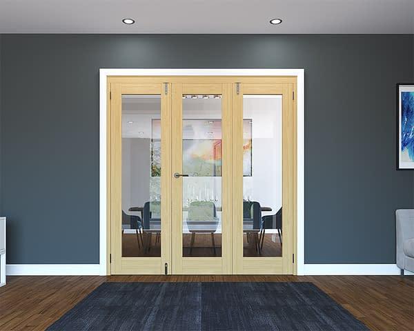 3 Door Unfinished Oak Folding French Doors - Closed