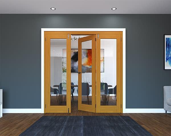 3 Door Fully Finished Oak Folding French Doors - Half Open